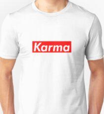Karma est une bitch Supreme Box Logo Parodie T-shirt unisexe