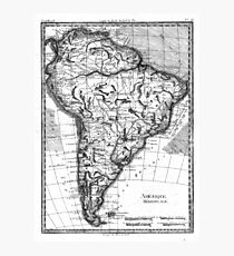 Vintage Map of South America (1780) BW Photographic Print