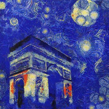Full moon over Paris Van Gogh Monet Cézanne by Ariela-Alez
