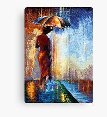 Schöne Frau Poppins mit einem Regenschirmzusammenfassung Leinwanddruck
