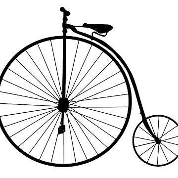 Penny Farthing, Bicycle, Cycle, Cycling, Racing Bike, Road Bike, Racing bicycle, Black on White by TOMSREDBUBBLE