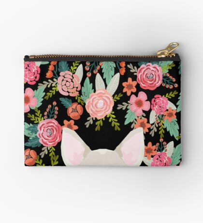 Chihuahua face floral dog breed cute pet gifts pure breed dog lovers chihuahuas Zipper Pouch