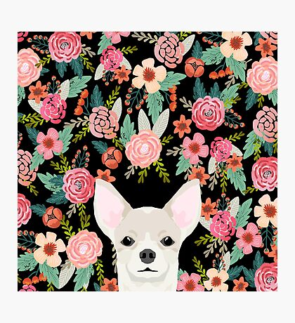 Chihuahua face floral dog breed cute pet gifts pure breed dog lovers chihuahuas Photographic Print