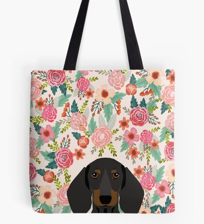 Dachshund floral dog head cute doxie must have pure breed weener dog gifts Tote Bag