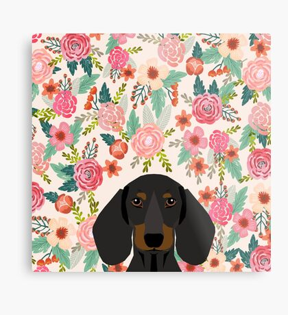 Dachshund floral dog head cute doxie must have pure breed weener dog gifts Metal Print