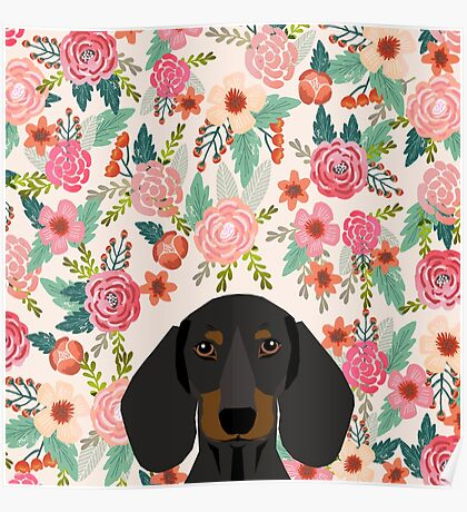 Dachshund floral dog head cute doxie must have pure breed weener dog gifts Poster