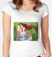 Asian Flower Woman Red Women's Fitted Scoop T-Shirt