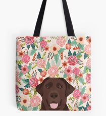Chocolate Lab floral dog head cute labrador retriever must have pure breed dog gifts Tote Bag