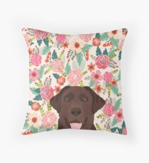 Chocolate Lab floral dog head cute labrador retriever must have pure breed dog gifts Throw Pillow
