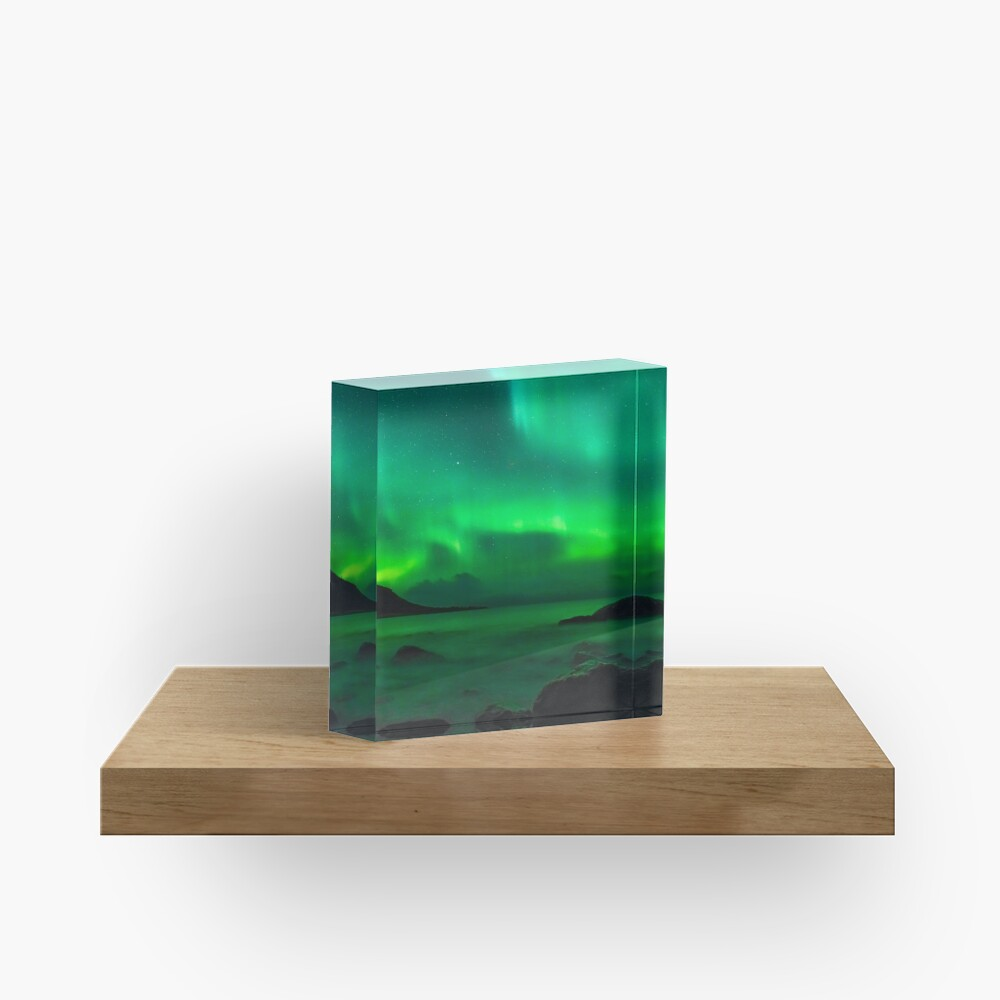 Green northern lights in Iceland Acrylic Block