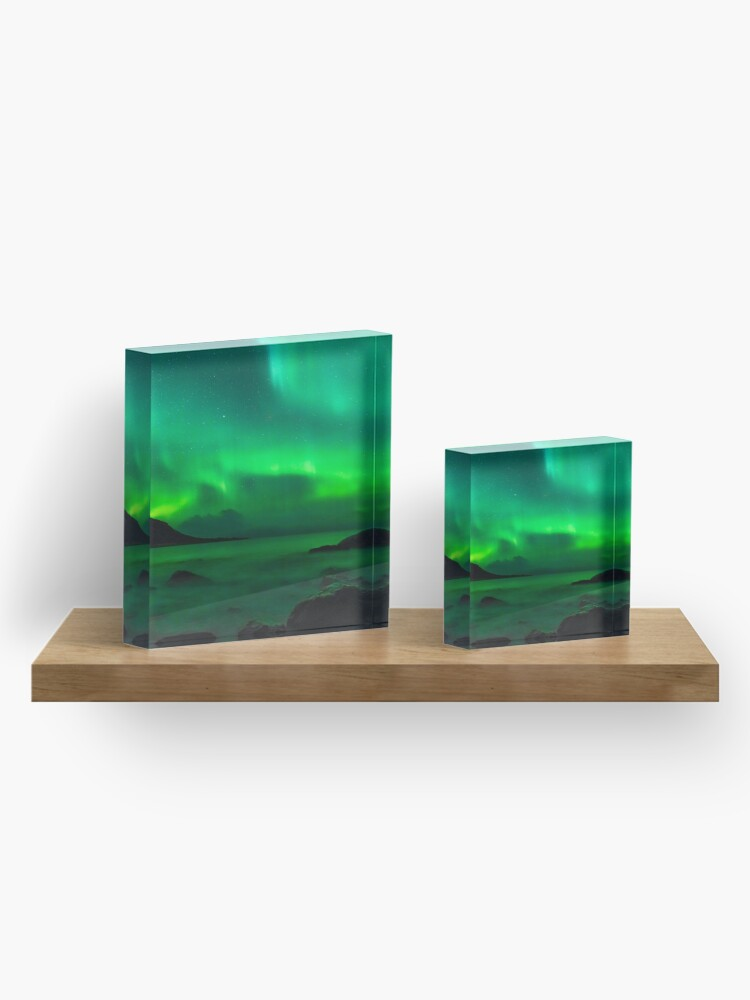 Alternate view of  Green northern lights in Iceland Acrylic Block