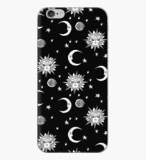 Linocut black and white sun moon and stars outer space zodiac astrology gifts iPhone Case