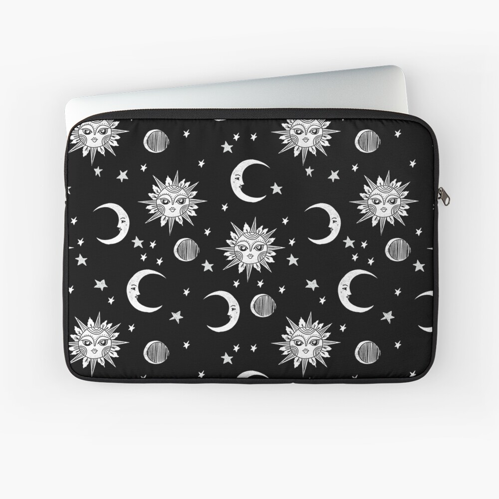Linocut black and white sun moon and stars outer space zodiac astrology gifts Laptop Sleeve