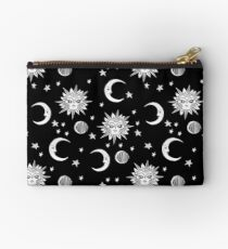 Linocut black and white sun moon and stars outer space zodiac astrology gifts Studio Pouch