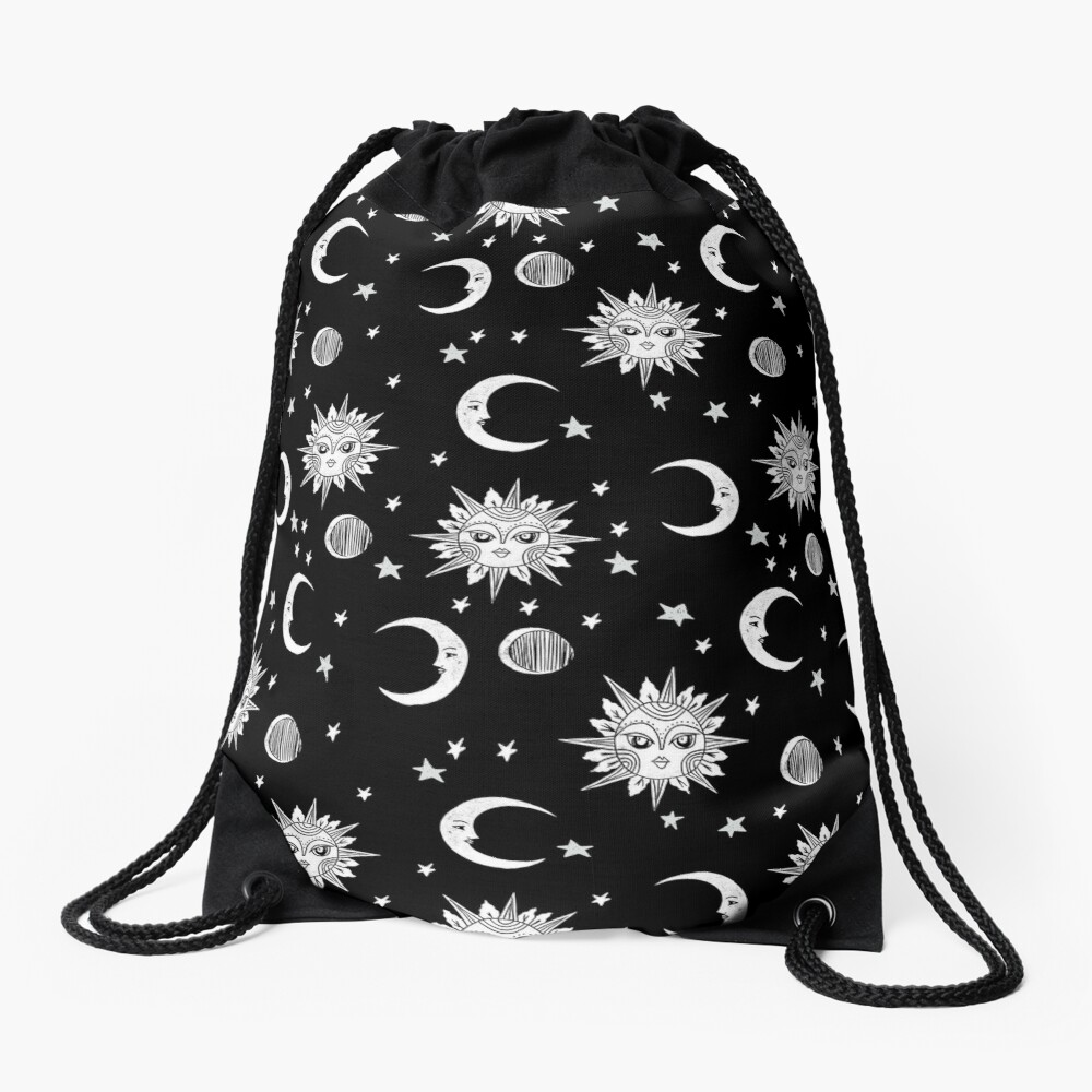 Linocut black and white sun moon and stars outer space zodiac astrology gifts Drawstring Bag