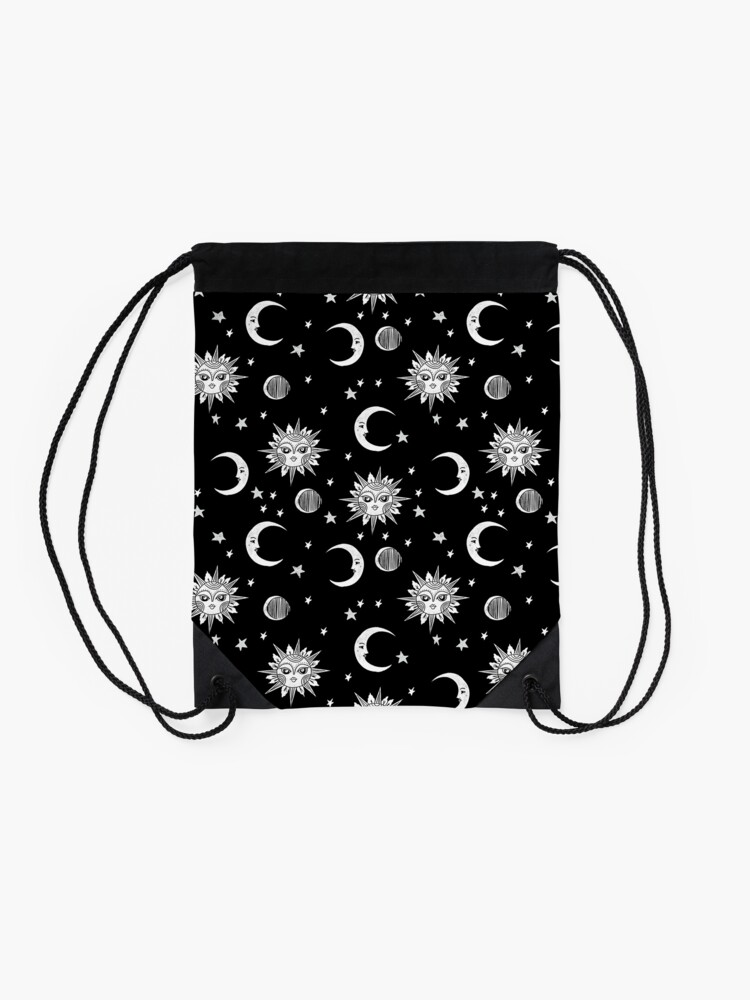 Alternate view of Linocut black and white sun moon and stars outer space zodiac astrology gifts Drawstring Bag
