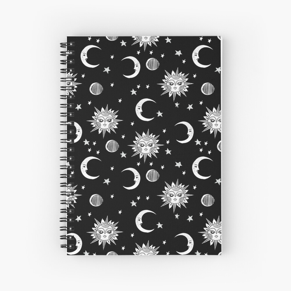 Linocut black and white sun moon and stars outer space zodiac astrology gifts Spiral Notebook