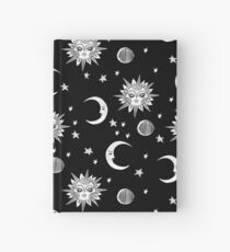 Linocut black and white sun moon and stars outer space zodiac astrology gifts Hardcover Journal