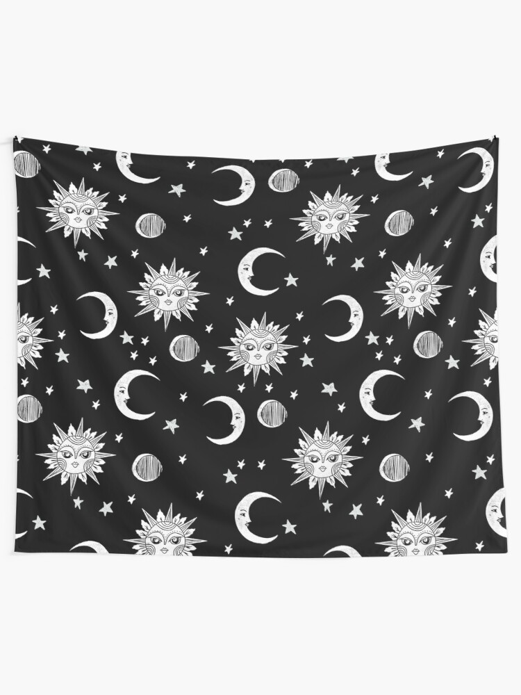 Alternate view of Linocut black and white sun moon and stars outer space zodiac astrology gifts Tapestry