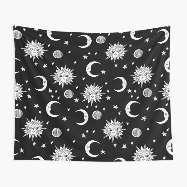 Linocut black and white sun moon and stars outer space zodiac astrology gifts Tapestry