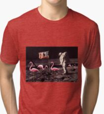 Neil Armstrong And Flamingos on The Moon Tri-blend T-Shirt
