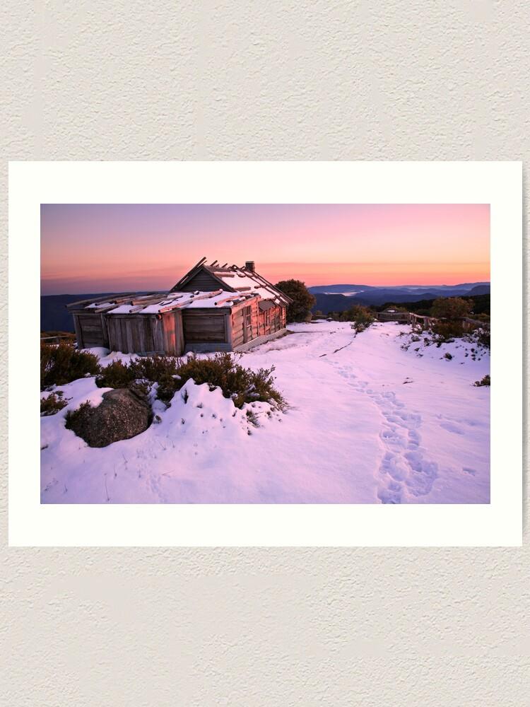 Alternate view of Winter Sunrise over Craig's Hut, Mt Stirling, Australia Art Print