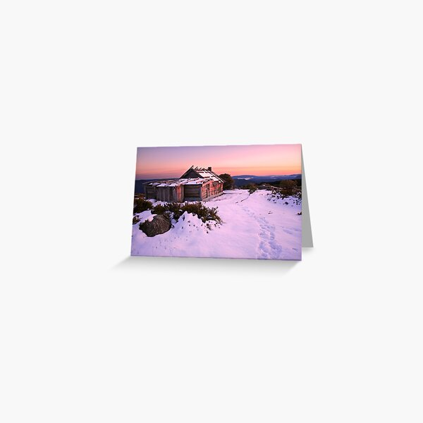Winter Sunrise over Craig's Hut, Mt Stirling, Australia Greeting Card