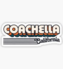 Pegatina Coachella, California | Rayas retro
