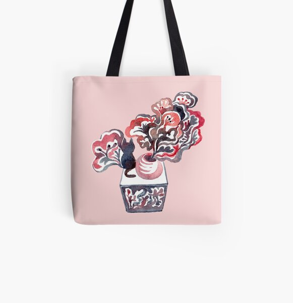 Cat and Flower Pot All Over Print Tote Bag
