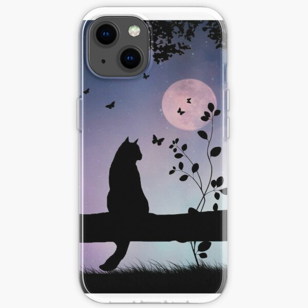 Cute Cat and Butterflies in Full Moon iPhone Soft Case