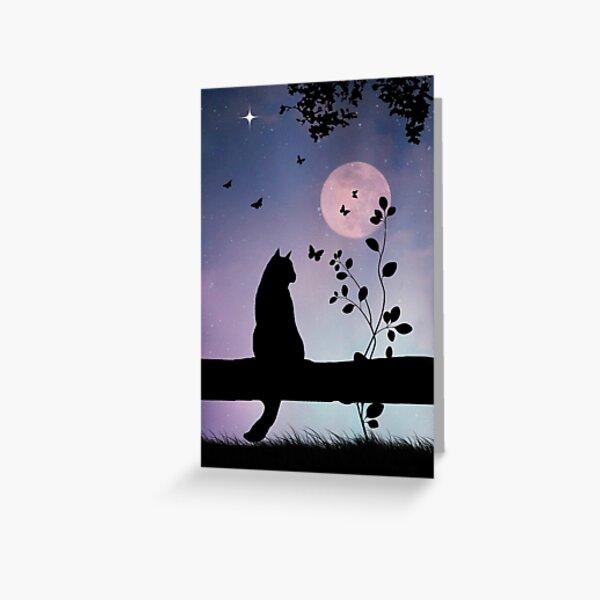 Chat mignon et papillons en pleine lune Carte de vœux