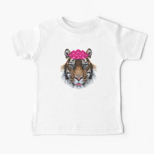 Tiger Queen of the Pink Jungle with Flower Crown by Alice Monber Baby T-Shirt