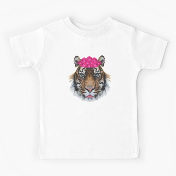 Tiger Queen of the Pink Jungle with Flower Crown by Alice Monber Kids T-Shirt
