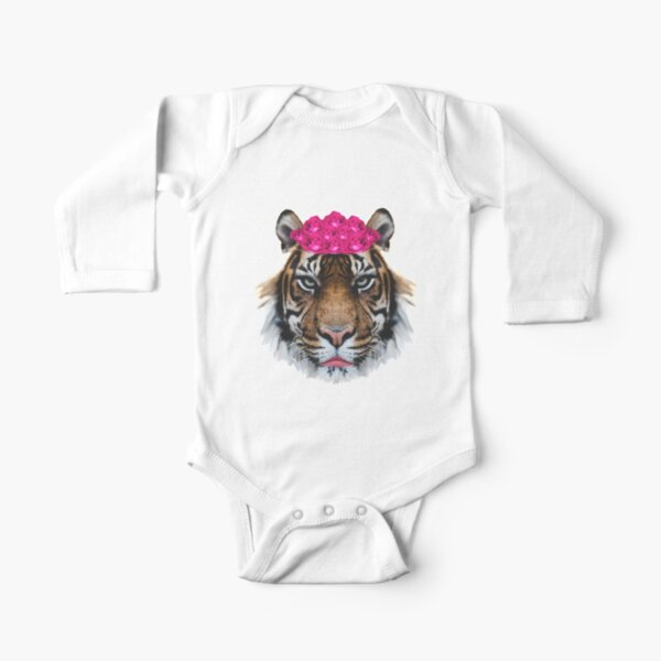 Tiger Queen of the Pink Jungle with Flower Crown by Alice Monber Long Sleeve Baby One-Piece
