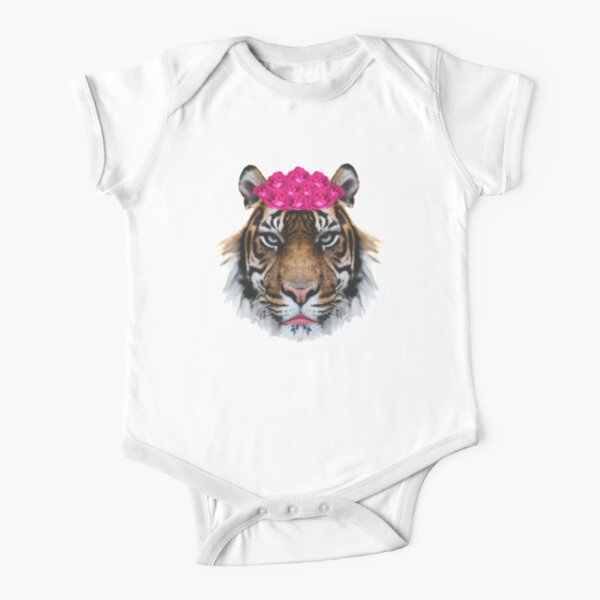 Tiger Queen of the Pink Jungle with Flower Crown by Alice Monber Short Sleeve Baby One-Piece