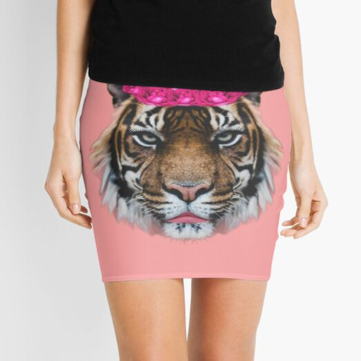 Tiger Queen of the Pink Jungle with Flower Crown by Alice Monber Mini Skirt
