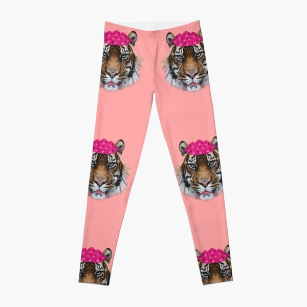 Tiger Queen of the Pink Jungle with Flower Crown by Alice Monber Leggings