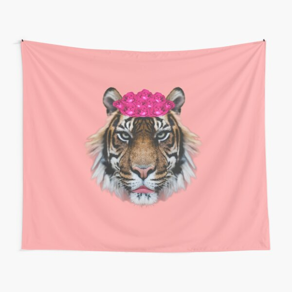 Tiger Queen of the Pink Jungle with Flower Crown by Alice Monber Tapestry