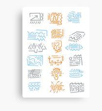 Icons: Blue, Orange, Grey Canvas Print