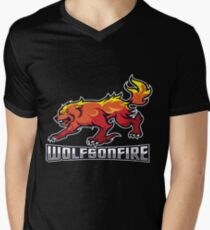 WolfsOnFire Official Logo (16:9) V-Neck T-Shirt
