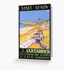 Vintage Visit Santander Spain Travel Greeting Card