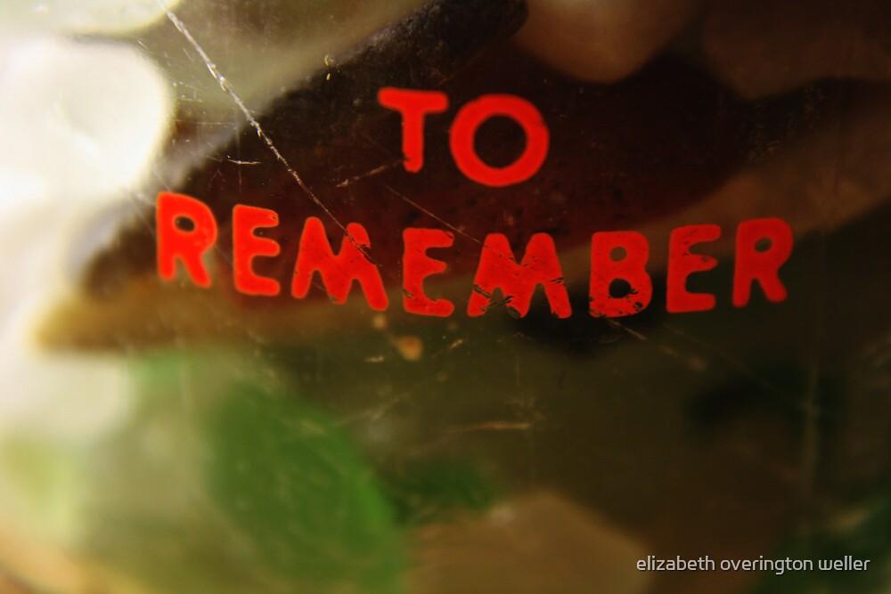 remembering by elizabeth overington weller