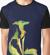 Little Gold Green Silken Sitting Pretty - Sighthound Windhound Long Doggo Lurcher Graphic T-Shirt