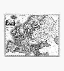 Vintage Map of Europe (1842) BW Photographic Print