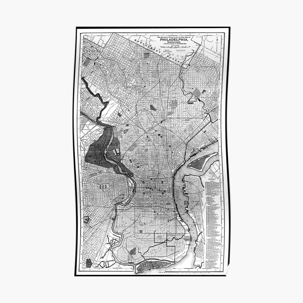 Vintage Map of Philadelphia PA (1895) BW Poster