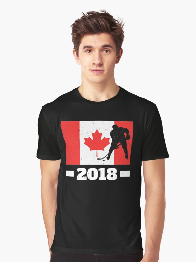 2bc7cf24 Canadian Hockey Player National Flag Canada T-Shirt Graphic T-Shirt Front