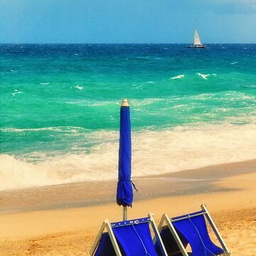 Deckchairs on the beach - Color version by sil63