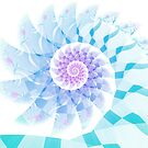 Modern Fractal Spiral in Blue, Purple & Pink by Kelly Dietrich