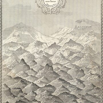Vintage Map of Hills and Mountains in Great Britain, 1837 by VintageArchive