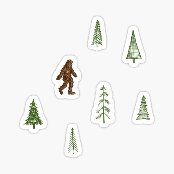 trees + yeti pattern in color Sticker